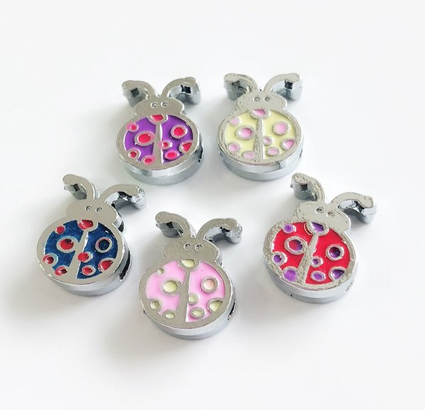 10PCs Mixed color 8MM Enamel Ladybug Slide Charms Beads Fit 8mm Pet Collar Belts Phone Strips Bracelets Tags