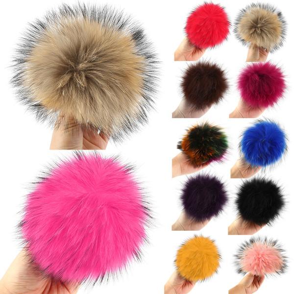16-17cm Real Fur Pompom Beanie Multicolor Raccoon Fur Accessories Shoes Mink Fox Ball Winter Pom Poms For Bag Hat Cap