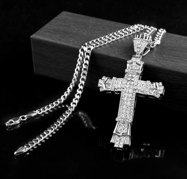 Ретро 18kgold крест Шарм кулон полный лед из CZ имитация алмазов католическое распяти