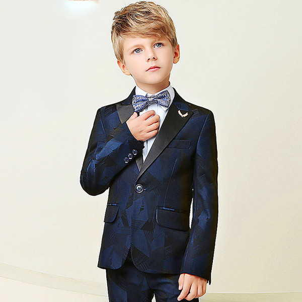 High Quality 2018 New Arrival Fashion Baby Boys Kids Blazers Boy Suit For Weddings Prom Formal Dark Blue Dress Wedding Boy Suits