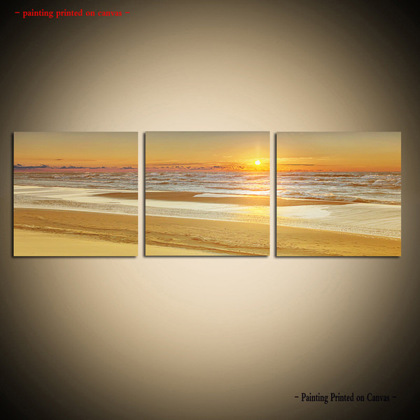 Framed/Unframed Large 3 piece Wall Art Set HD Picture Print Painting On Canvas Modern Beautiful Sunset Glow Seascape Beach Home Decor 3Pcs32