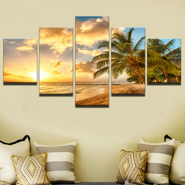 Large Canvas Painting For Bedroom Living Room Home Wall Artwork Decoration 5 Pcs Palm Trees Landscape Printed Modular Pictures