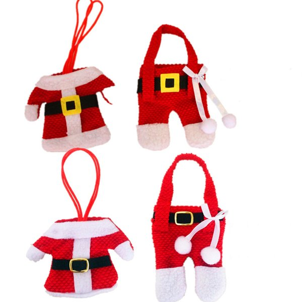 Mini Christmas Santa claus clothes Knives Forks Tableware Christmas Decorations Sets Festival Party Drop Ship 110030