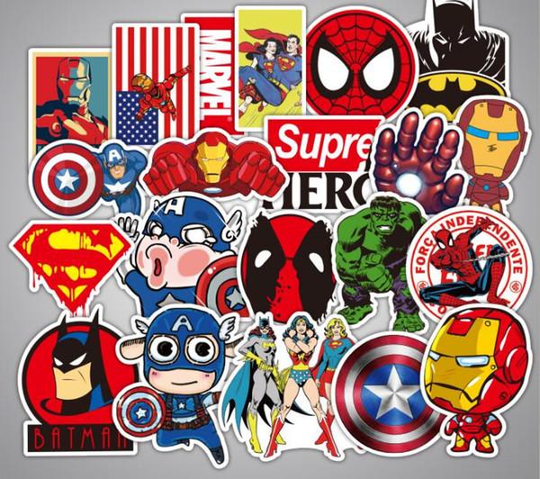 250 pçs / lote clássico dos desenhos animados adesivos de brinquedo para homem de ferro engraçado spiderman adesivos para crianças etiqueta do carro diy skate portátil bagagem decalque decoração