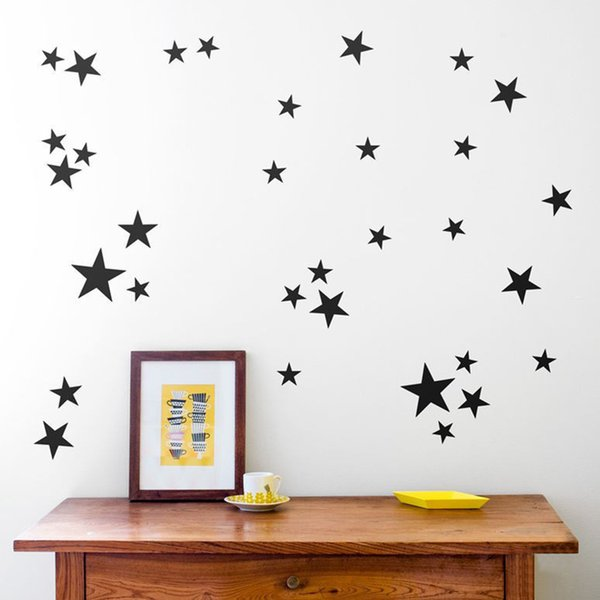 39pcs DIY Gold Stars Pattern Vinyl Wall Art Decals Nursery Room Decoration Wall Stickers for Kids Rooms Home Decor