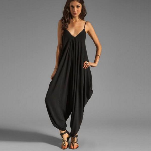 Women V Neck Loose Baggy Fit Summer/Beach/Party Jumpsuit Romper Harem Suit