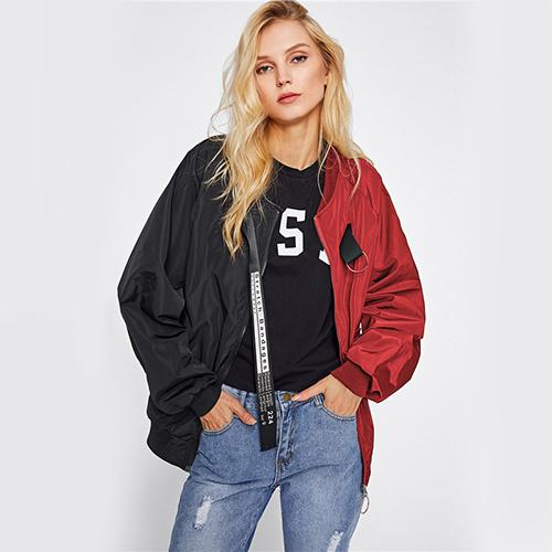 Patchwork Casual Bomber Jacket Color Block Women Two Tone Patch Back Autumn Jackets 2018 New Letter Ribbon Zip Up Jacket