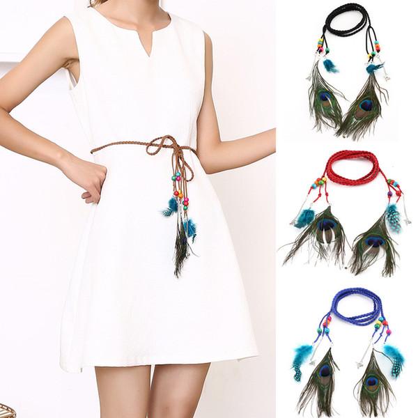 Women Belt For Dress Women Bohemian Belt Braided Rope Peacock Feather Fringe Vintage Waist Elastic cinturon mujer A9