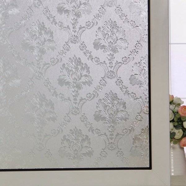 Royal flower opaque frosted glass window privacy film office building bathroom home static cling easy installation