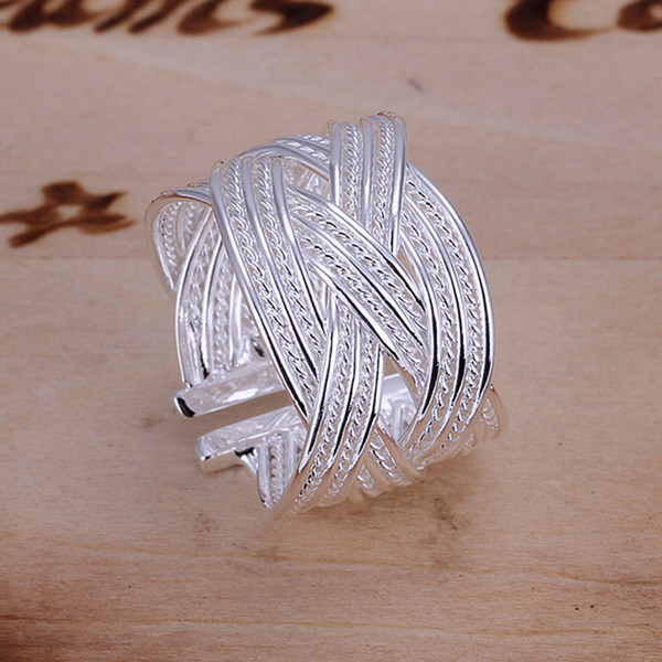 Fine 925 Sterling Silver Ring for Women Men,New Arrival XMAS Wholesale Fashion jewelry 925 Silver Net Cuff Ring 2018 Link Italy AR24