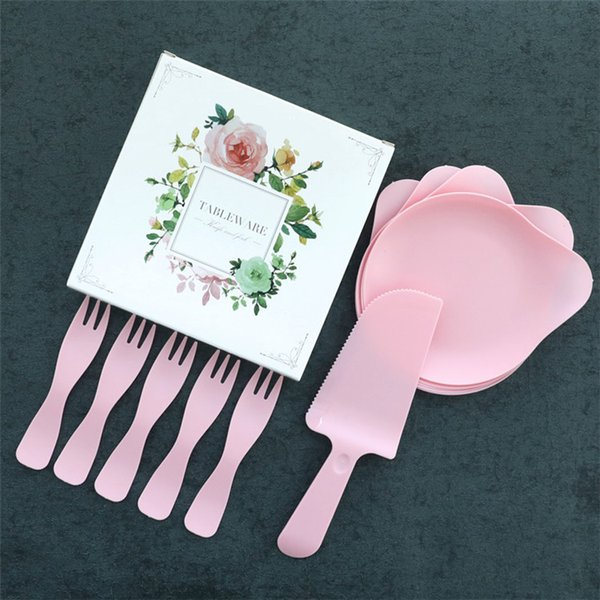 4 Colors Optional Disposable Birthday Cake tableware Suits Fork Knife Dish Plate Fine Gift Box Party Supllies Dinnerware Sets T1I745