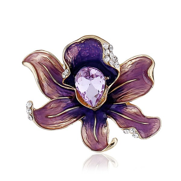 European and American fashion alloy vintage boutonniere color large flower gift party brooch brooch