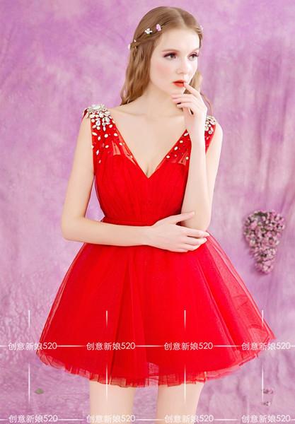 2018 Akşam Resmi Elbise taklidi kapalı omuz v yaka a-line vestido de festa kırmızı yeni sıcak seksi kısa mini Gelinlik Modelleri
