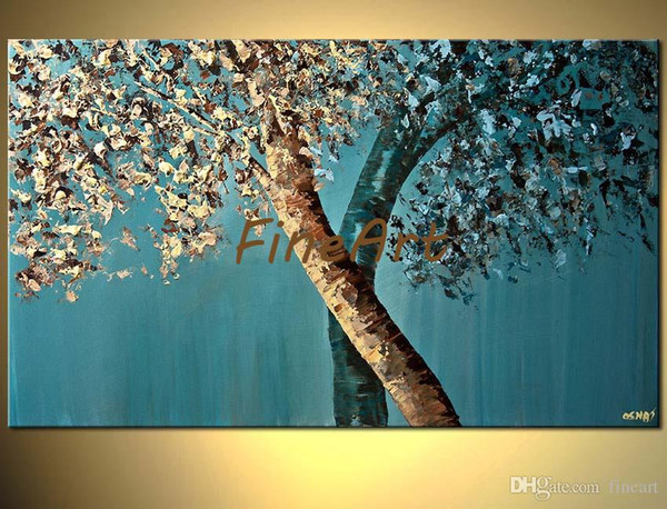 100% handpainted palette knife texture oil painting contemporary artists paintings tree wall art canvas painting ideas home decorations mod