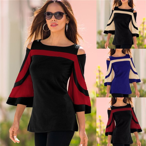 Women Best Blouse Black White Color block Bell Sleeve Cold Shoulder Top Mujer Camisa Feminina Office Ladies Clothes S-2XL