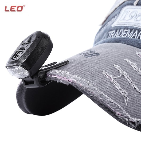 LEO Ultra Light Cap Lamp 3 LEDs Headlamp Clip Hand Free for Fishing Camping Hiking Hunting