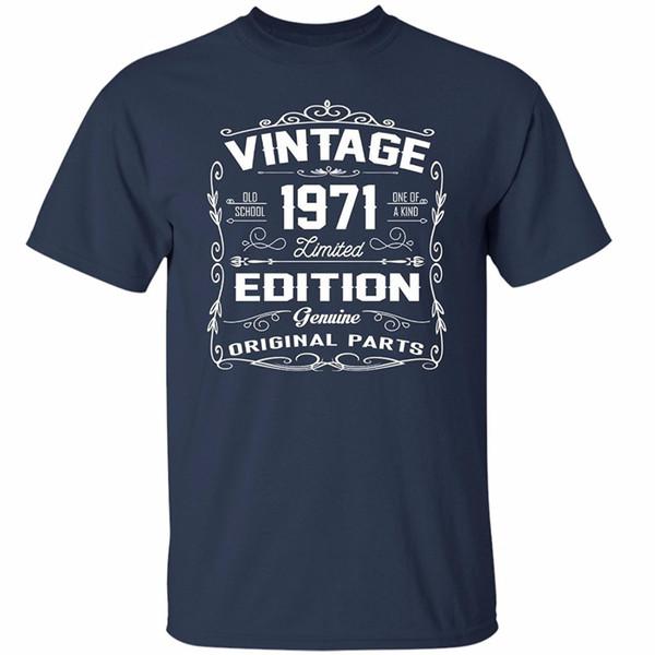 Venda quente 100% Algodão dos homens do Vintage 1971 Edição Limitada Camisas Incríveis Presentes Para O Aniversário T Shirt Top Curto O-pescoço camiseta