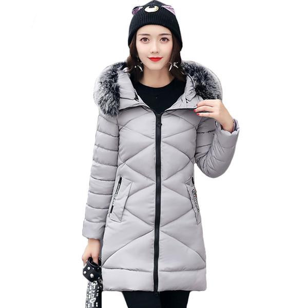 À capuche avec col en fourrure Veste d'hiver Femmes Longue Épaissement Chaud Outwear Pour Femmes Vestes D'hiver Mince Manteau Longue Femme