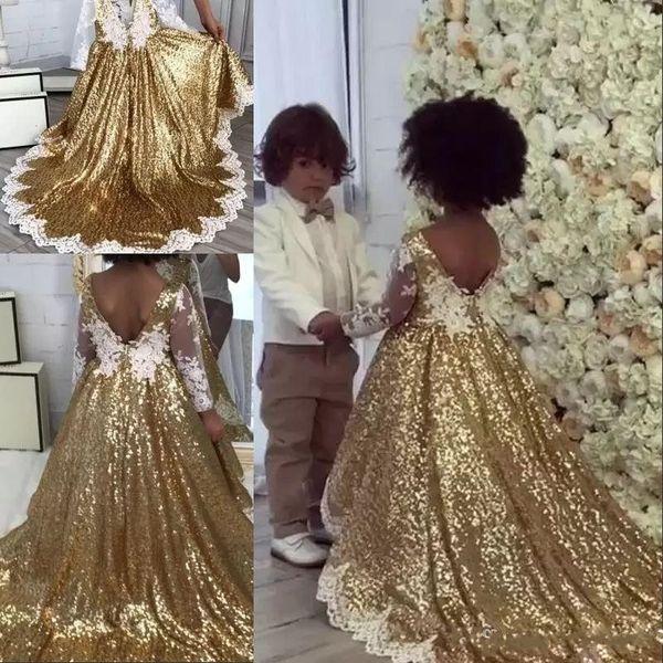 2018 Ouro Lantejoulas Girl's Pageant Vestidos Para Casamentos V Voltar Branco Apliques de Renda Mangas Compridas Princesa Até O Chão Vestidos Das Meninas de Flor