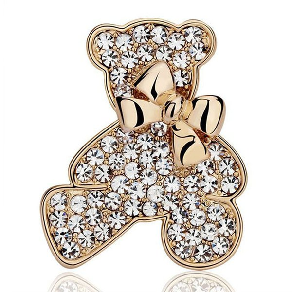 New clothing wholesale Korean genuine full rhinestone diamond bow bear brooch manufacturers special promotions free shipping