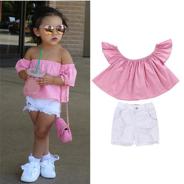 6 colores de moda fresco niño niños bebé niña fuera del hombro camiseta Top Shorts pantalones ropa traje conjunto caliente 2017 gota enviada ST27 Y1892906