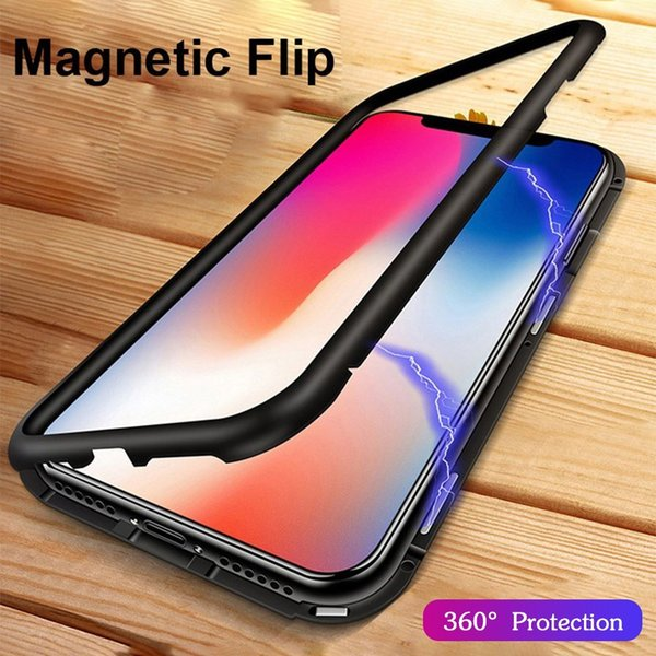 For iPhone 6 7 8 Plus Phone Case Protective Film Tempered Glass Magnetic Adsorption Metal Bumper Clear Full Back Cover Screen Protector