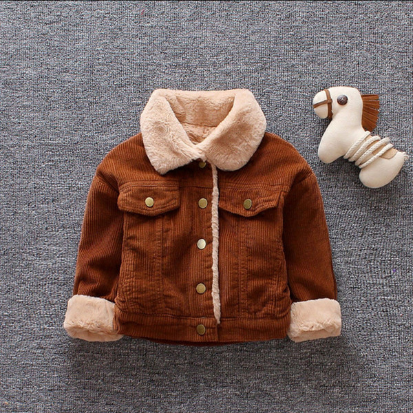 top popular Thick Velvet Kids Boys Girls Winter Jackets Long Sleeve Brown Yellow Cool Warm Baby Girls Clothing Children's Outerwear Coat 2021