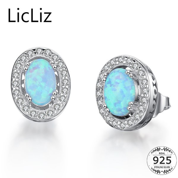 LicLiz 925 Sterling Silver Blue Opal Stud Earrings For Women Post Piercing Ear Studs CZ Zircon Pave Stud Oval Earring LE0309