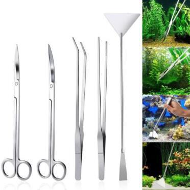 5 pcs / set En Acier Inoxydable Outil Ensemble Aquarium Outils de Maintenance Kit Pincettes Ciseaux Pour Plantes Vivantes Herbe Jardin Fournitures CCA10233 10set