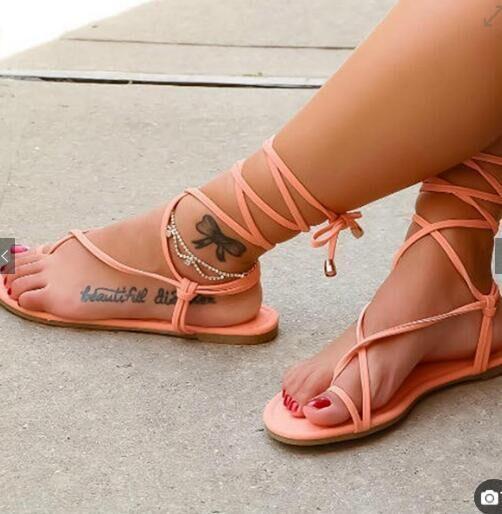 b2884ebfb1567 Simple Straps Thong Women Sandals Lace Up Women Flat Beach Ankle Wrap  Strappy Flip Flop Sandals