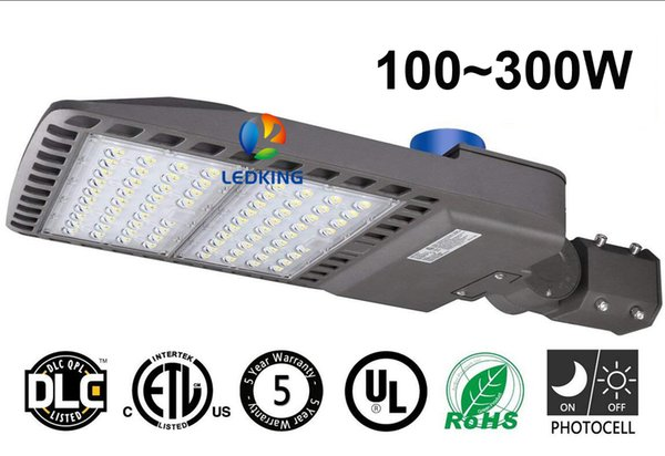 LED Street Pole Light 100W to 300W Brightness LED Shoebox Parking Lot Lights HID Replacement IP65 with Photocell Switch Auto Dusk to Dawn