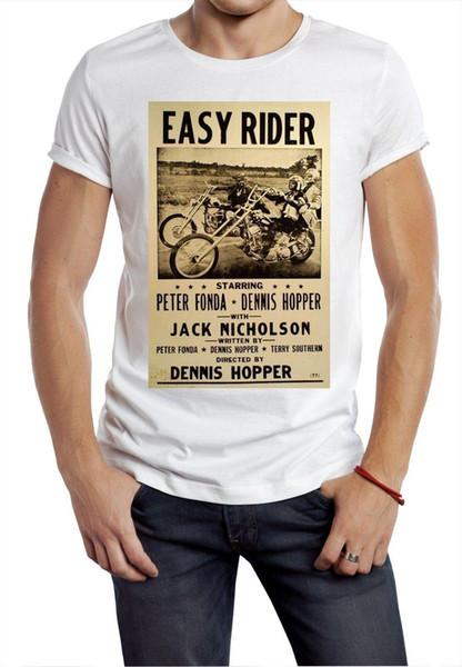 Easy Rider T-shirt 60s 70s motociclista retrò film fil manifesto tee HIPPY STRADA BIKER