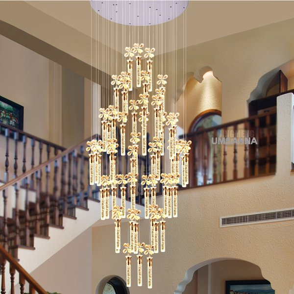 Modern Chandelier LED Lamps K9 Crystal Bubble Bar Chandeliers Lights Fixture American Big Long Stair Hanging Light Home Indoor Lighting