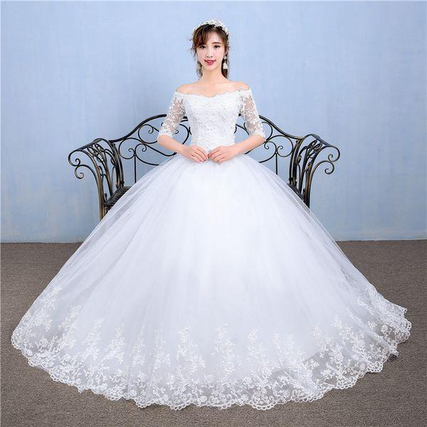 Factory Outlet New Women Sheer Sleeve Lace Wedding Dress A line Bateau Emboridery Flower Garden Wedding Ball Gown Dresses floor length W52