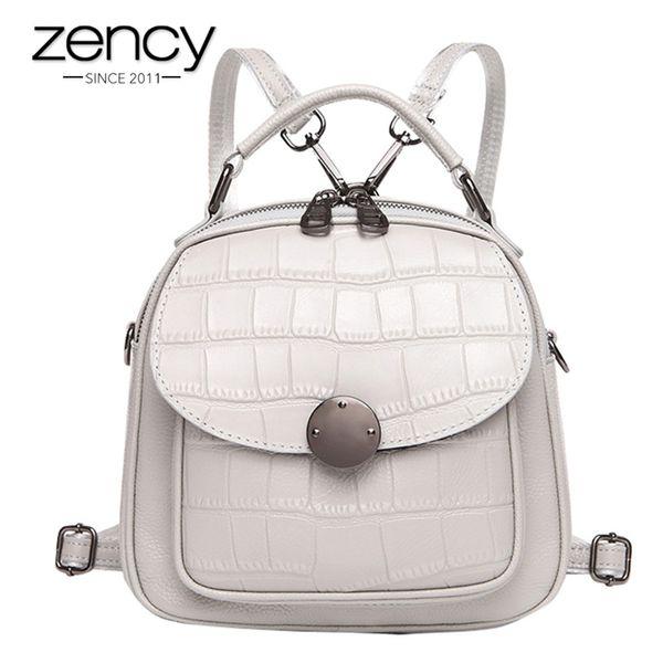 vendita all'ingrosso Stone Pattern 100% in pelle naturale Pretty Women Zaino Schoolbags ragazza Casual Borse da viaggio Charm rosa Zaino cartella