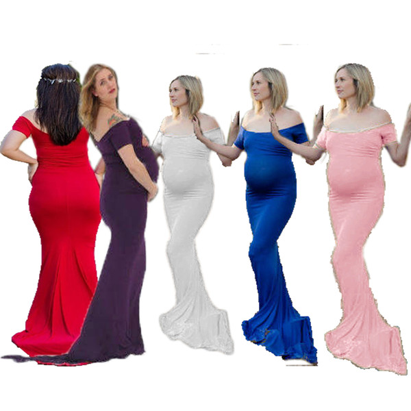 Women's Clothing Dress Mercerized Cotton Pregnant Woman Collar Trailing Dress