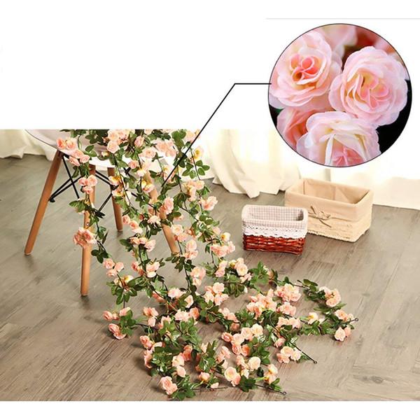 Compre Seda Artificial Rose Vine Ratta Seda Colgante De Flores Para El Ramo De La Boda Arreglos Florales Hogar Hotel Decoración Del Partido Rosa A