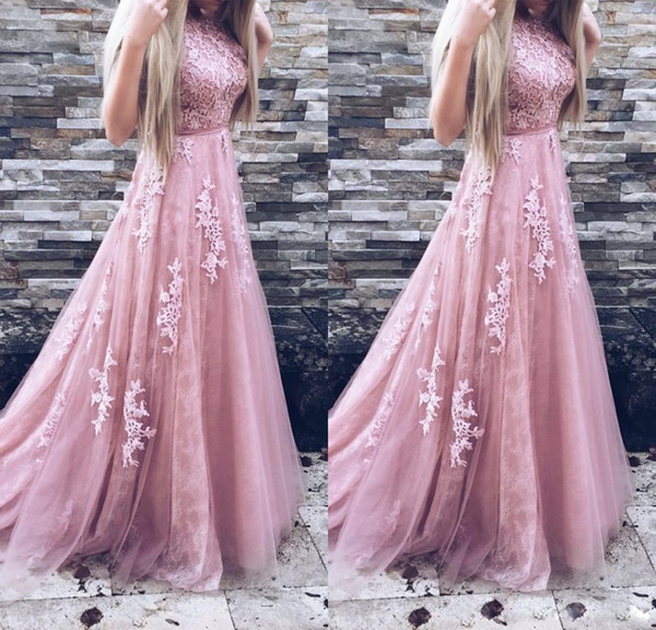 Fashion Dusty Pink Prom Dresses Lace Evening Gowns Cheap Sleeveless Sash Tulle Long Homecoming Dresses Banquet Party Gowns China