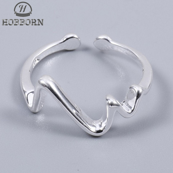 925 Sterling Sier Heartbeat Ring Simple Smooth Open Prevent Allergy Best Friend Finger Rings For Girls Sterling Sier Jewelry