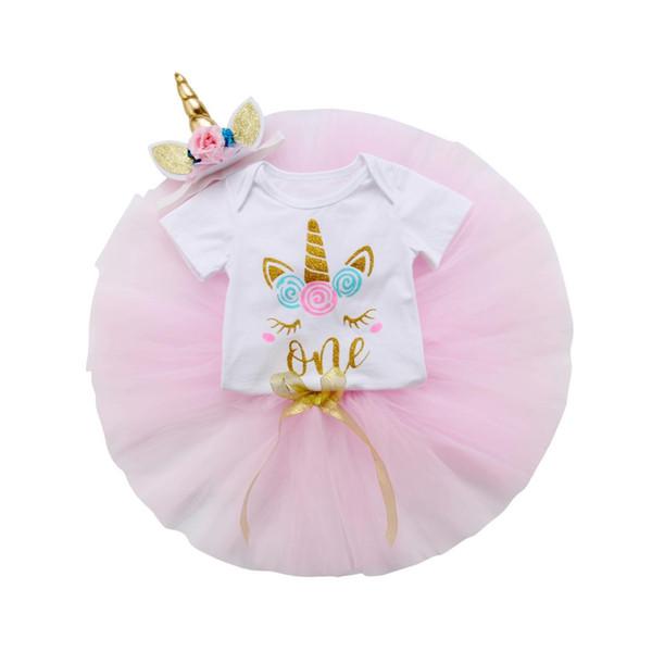 3Pcs New Flower Girl Summer Princess Dress Baby Party Wedding Unicorn Tulle Tutu Dresses Romper Headband 0-24M