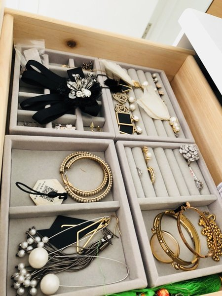 Wholesale 5PCS/Lot New Drawer DIY Jewelry Storage Tray Rings Bracelets Gift Box Jewellery Organizer Small Size Fit Most Room Space