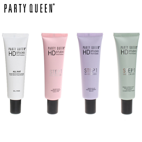 PARTY QUEEN Brand 4 Colors Face Base Primer Oil Free Correct Skin Tone Brighten Cover Pore Cream Concealer Foundation Makeup