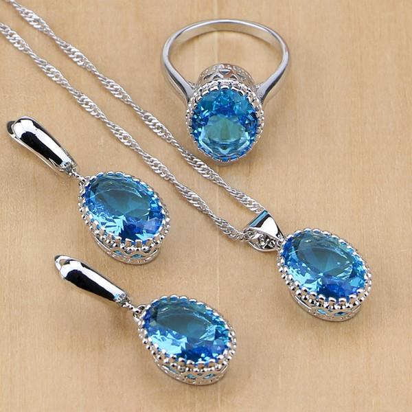 set per le donne Naturale 925 Blue Sky australiano di cristallo I monili per le donne l'orecchino / pendente / collana / anello