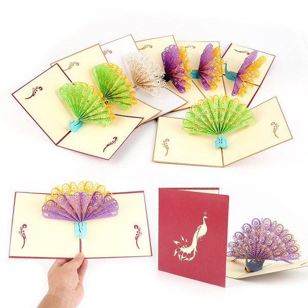 3D Cards Birthday Thank You Gift Greeting Postcards Vintage Paper Kirigami Pop Up Laser Cut Peacock Customize Invitations