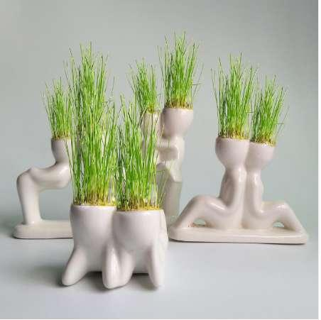 Flower Pot for Plants Flowerpot Ceramic Mini Cute Novel Bonsai Head Grass Doll Hair White Lazy Man Rely Plant Garden DIY