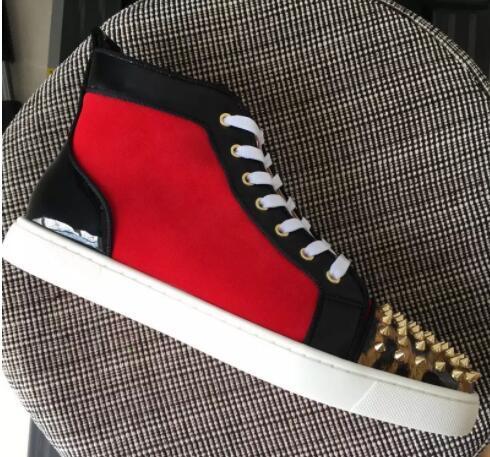 2018 New Mens Casual Chaussures en daim rouge en cuir léopard Bas rouge avec des pointes en haut top Lacets Unisexe De Luxe Nouveaux Appartements Sneaker Mode 36- 47