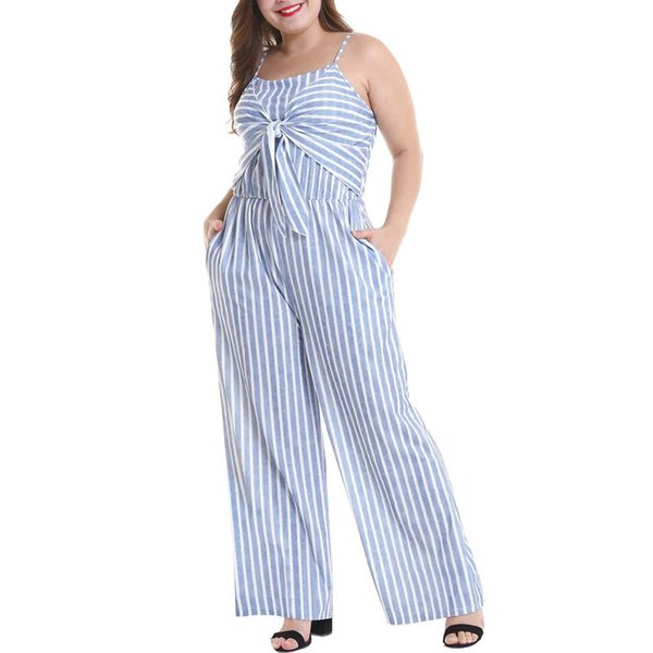 Women Plus Size Casual Jumpsuit Sexy Stripe Spaghetti Strap Loose Playsuits Summer Slip Jumpsuit Wide Leg Pant Overall Big Size