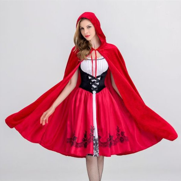 2018 Moda Traje Rainha do Dia Das Bruxas Cosplay Uniforme para Trajes Adultos Little Red Riding Hood Traje CastleCosplay Trajes