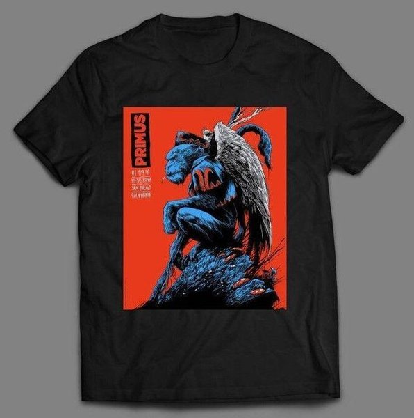 PRIMUS 2016 CALIFORNIA CARTEL DE CONCIERTO RARO MASHUP * OLDSKOOL * Camisa * FRENTE COMPLETO * Moda para hombre 2018 Marca de fábrica Camiseta O-cuello