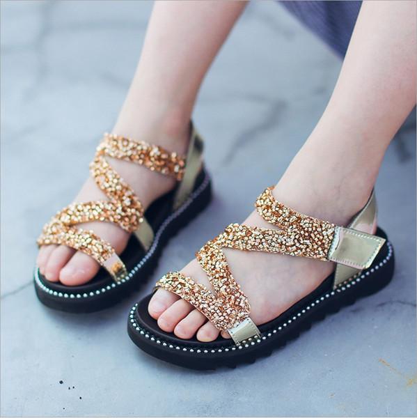 2018 summer new Korean girls sandals in the big children fashion soft bottom Roman baby shoes children sandals princess